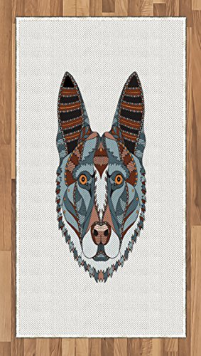 (Ambesonne German Area Rug, Colorful German Shepherd Dog Portrait with Motifs with Zentangle Arrangement, Flat Woven Accent Rug for Living Room Bedroom Dining Room, 2.6' x 5', Multicolor)