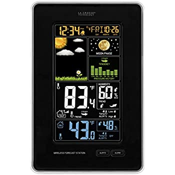 La Crosse Technology 308-1425B-INT   Wireless Color Forecast Station, Black