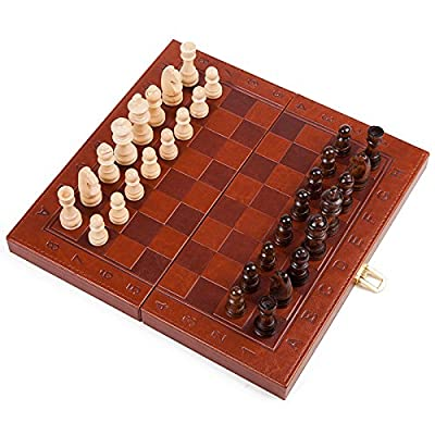 Agirlgle Travel Wooden Chess Set for Adults with Folding Leather Chess Board with Storage and Handmade Wood Chess Pieces