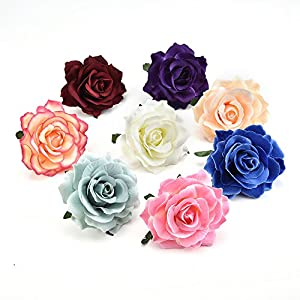 Artificial Flowers Fake flower heads Big Silk Blooming Roses Head For Wedding Decoration DIY Wreath Gift party festival Home Decor Scrapbooking Craft Flower 8pcs/lot 10cm (Colorful) 56