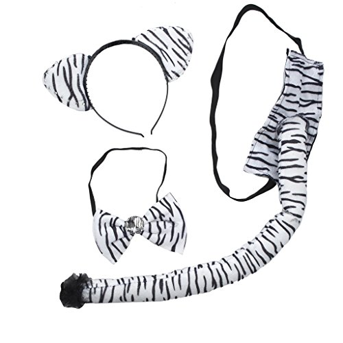 Lux Accessories Halloween Zebra Black and White Costume Set (3PCS) (Twin Girl Costumes)