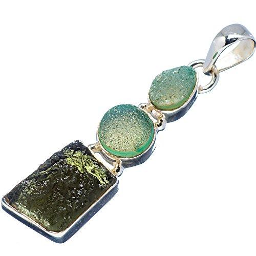 "Ana Silver Co Czech Moldavite, Green Quartz Druzy 925 Sterling Silver Pendant 1 3/4"""