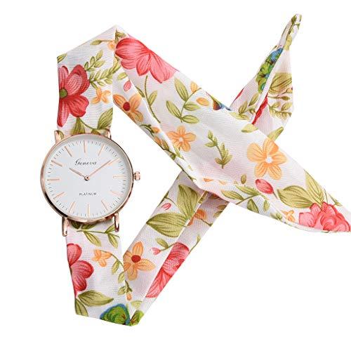 (chenqiu Women's Casual Fashion Floral Watch, Fabric Color Printed Strap Quartz Elegant Crystal dial Bracelet Watch)