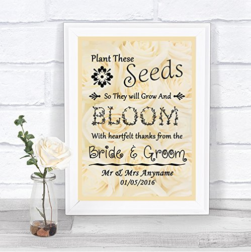 Personalized Heart Seed Cards (Roses Seeds Personalized Wedding Sign)