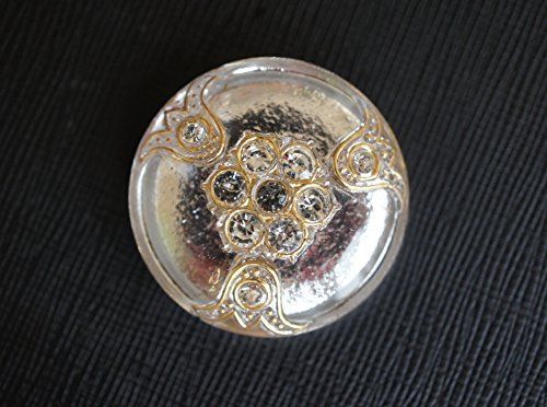 Czech Glass Button with Rhinestones, Silver, size 14'', 32mm, 1pc