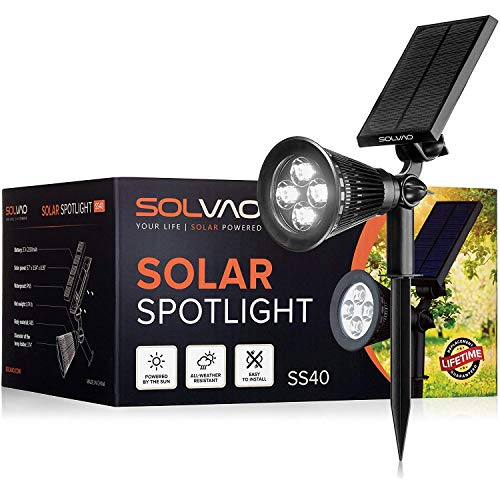 SOLVAO Solar Spotlight (Upgraded) - Ultra Bright, Waterproof, Outdoor LED Spot Light with Auto On/Off Function - Best Sun Powered, Rechargeable Uplight for Lighting Flag Pole, Landscape, Yard & Garden (Best Solar Flagpole Light)