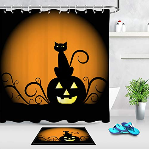 LB Black Cat Pumpkin Cartoon Clip Art Halloween Autumn Themed Shower Curtain Set, 70x70 Inch Shower Curtain Waterproof Anti Mold, 15 x 23 Inch Non Slip Bath Rug -