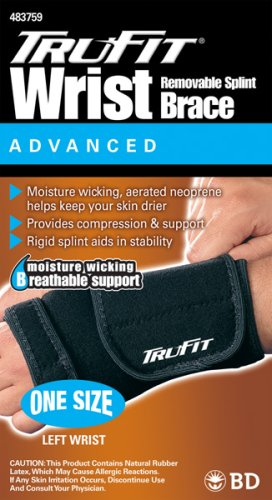 Tru-Fit Aerated Splint Wrist Brace Left, Black, One Size Fits All, 1 Count