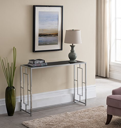 Modern Chrome Finish / Black Glass Top Console Sofa Table with Square Designs