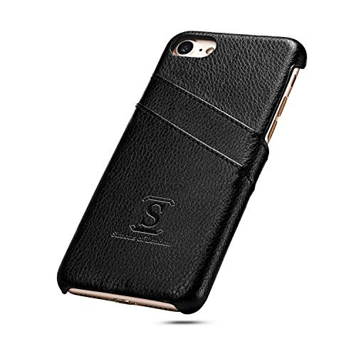 iPhone 8 / iPhone 7 Coated Leather Case with Slots for ID/bank cards - Perfect Slim Fit Cases by Simons of London - Luxury Back Cover with Pouch and Gift - Mall Mayfair