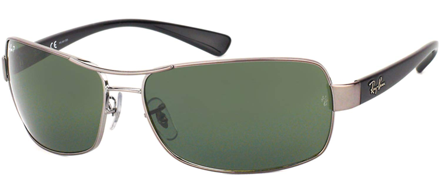 RAY-BAN RB3379 Rectangular Sunglasses, Gunmetal/Polarized Green, 64 mm by RAY-BAN