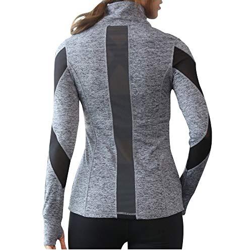 Women Slim Fit Athletic Running Yoga Fleece Lined Full-Zip Hand Pockets Turtleneck Workout Track Jacket with Hidden Pocket (L/XL, Gray