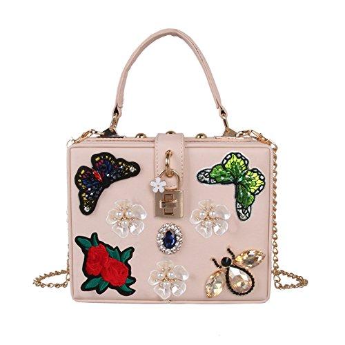 Lady Épaule Fleur Ladiespurse Diamond À Perle Sac De Yanbao Broderie Main Apricot Papillon Bandoulière Luxe OOqZCwR