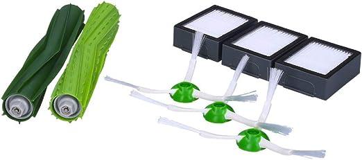 Wessper Accesorios para iRobot Roomba i7 i7 + E5 E6 E7 Robot Aspiradora Piezas de Repuesto Paquete de 1 Juego de Cepillo de Goma, 3 filtros Hepa, 3 cepillos Laterales: Amazon.es: Hogar