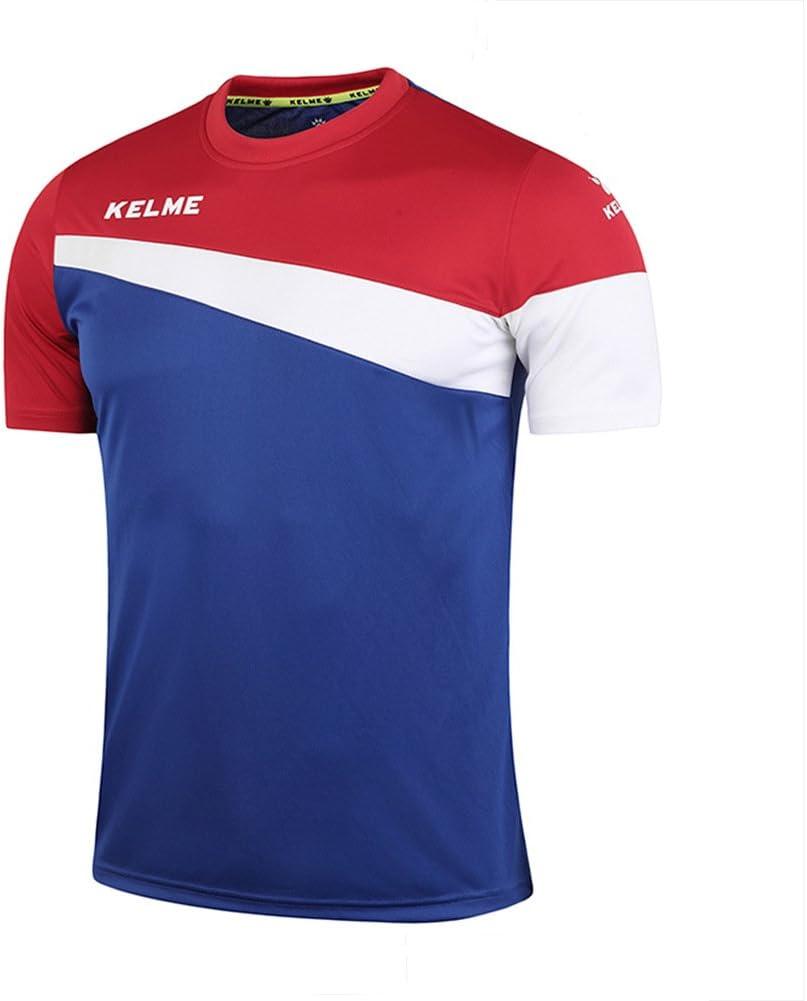 KELME Camiseta de fútbol de Manga Corta Equipo Traning Placa Uniforme, Hombre, Azul/Blanco/Rojo, Small: Amazon.es: Deportes y aire libre