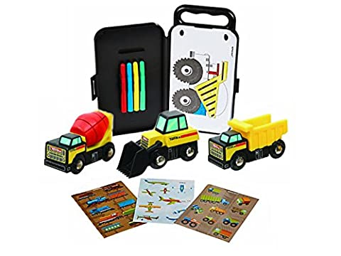 Tonka Construction Vehicles, Set of 3 Trucks Plus Trucks & Trains Sticker Activity Kit with Plastic Carrying - Case Front End Loaders