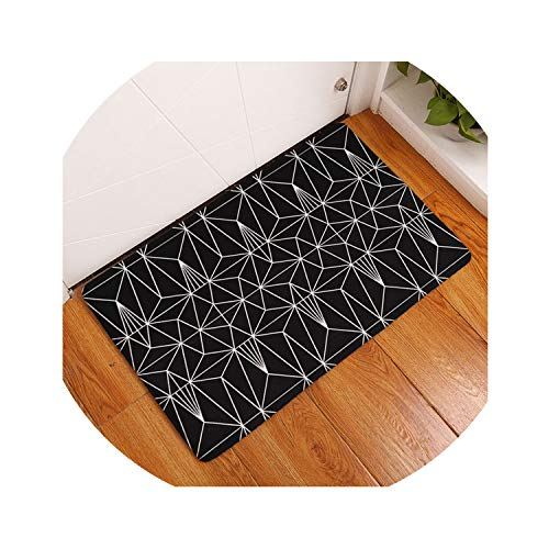 Memoirs- Bath Rug Kitchen Floor Carpet Bathroom Anti-Slip Doormat Geometric Plaid Decorative Door Mat for Living Room,4,500mm x 800mm