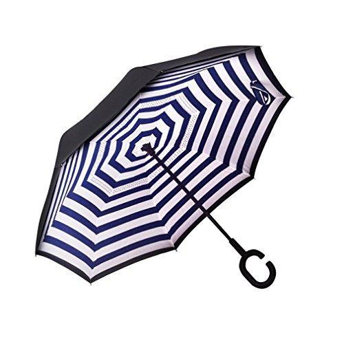 Inverted Umbrella Double Layer Wind Proof, UV Proof Reverse Folding Umbrella with C Shape Handle (Striped navy blue) (Umbrella Striped Blue)
