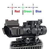 Hiram 4×32 Tactical Prismatic Rifle Scope Red/Green / Blue Reticle Long Eye Relief 3 Brightness W/Top Fiber Optic Sight and Weaver Slots Review