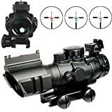 Tactical 4X32 Rifle Scope Fiber Optic Sight & Red ,Green,Blue Tri-illuminated BDC Range Recticle ,Low to High Range Scope