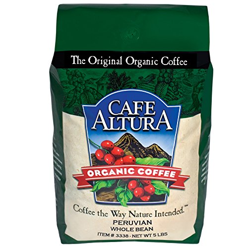 Cafe Altura Totality Bean Organic Coffee, Peruvian, 5 Pound