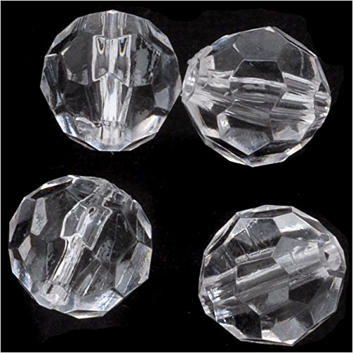 (Vintage Lucite Plastic Round Faceted Beads 9.5mm Crystal (25))