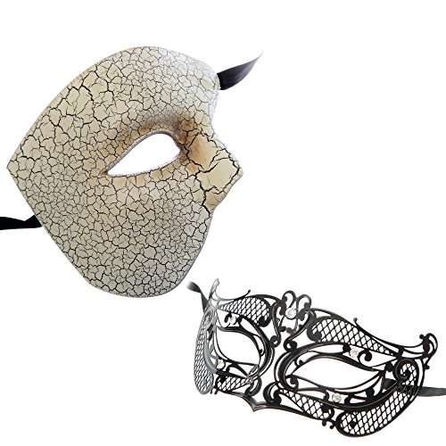 Phantom Venetian Masquerade Mask White Series Couple Mask Sets (White10) by L.M.K