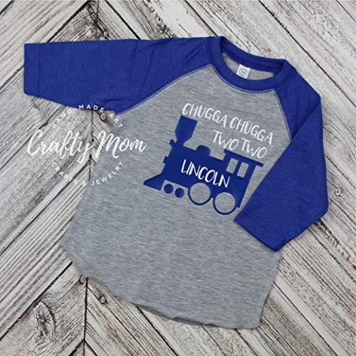 Chugga Two Train Toddler Boys Birthday Shirt Raglan Baseball Tee