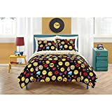 Emoji Bed in a Bag Set Emoji Pals Reversible Bed in a Bag Comforter Set (Twin/Twin XL, Black)