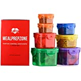Meal Prep Zone 7 Piece Multi-Colored Portion Control Containers with Guide, Snap-Lids, Multi-Colored, Comparable to 21 Day Fix