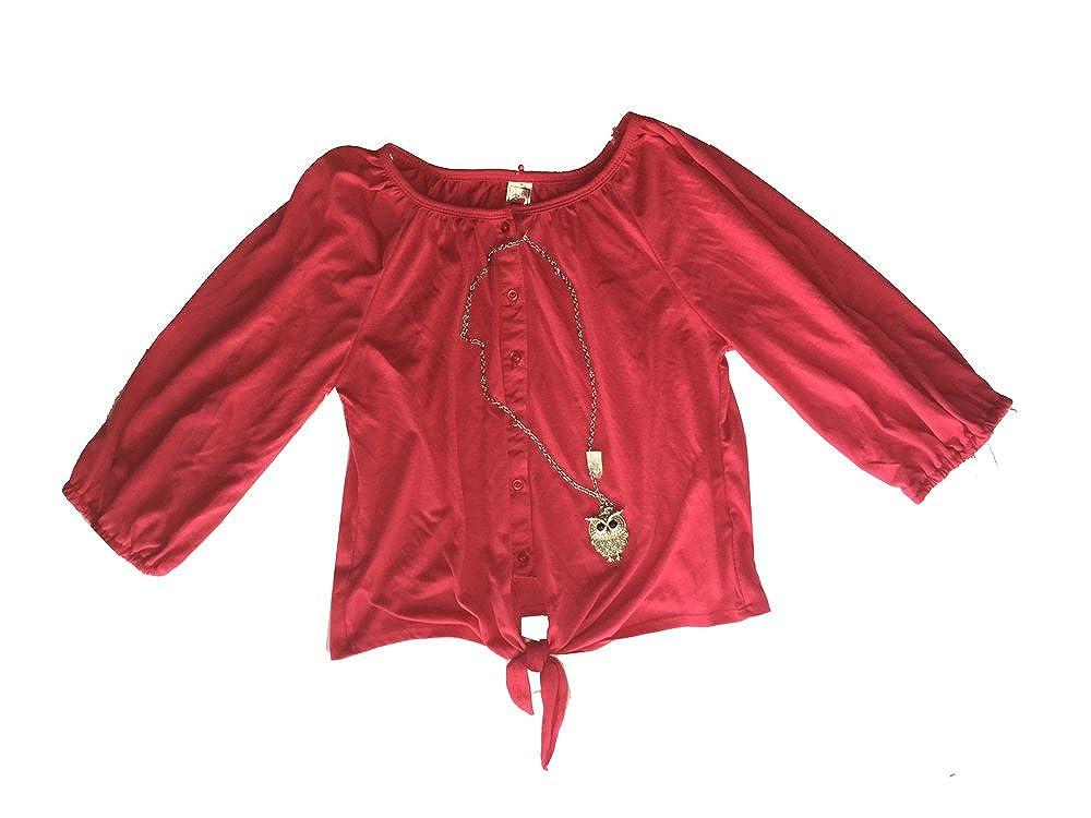Beautees Azal 3//4 Tie Front Girls Dark Pink XL
