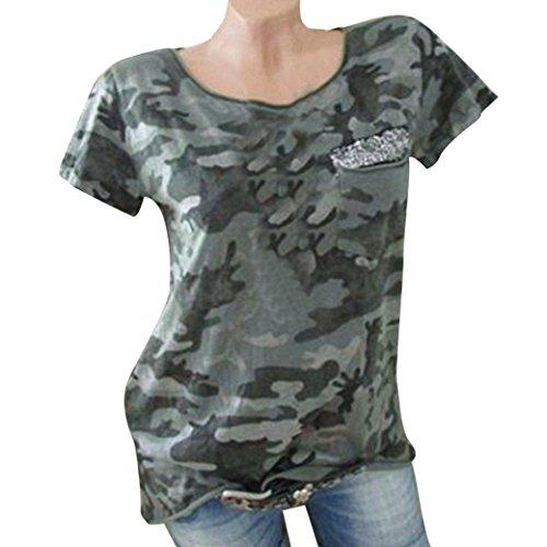 T Shirt For Women, vermers Summer Short Sleeve O Neck Camo Pocket Casual Blouse (White Linen Tester)
