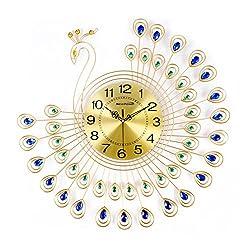 NEOTEND 3D Wall Clock Peacock 40pcs Diamonds Decorative Clock Diameter 25.6