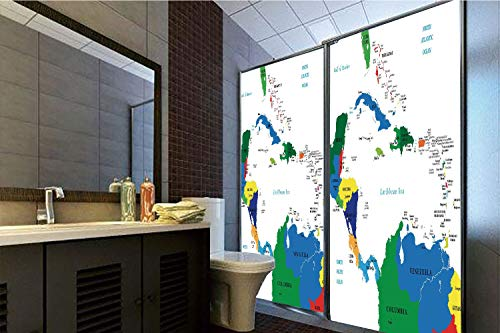 Horrisophie dodo No Glue Static Cling Glass Sticker,Map,Central America and The Caribbean Islands Map Countries Cities Names Regions Locations,Multicolor,39.37