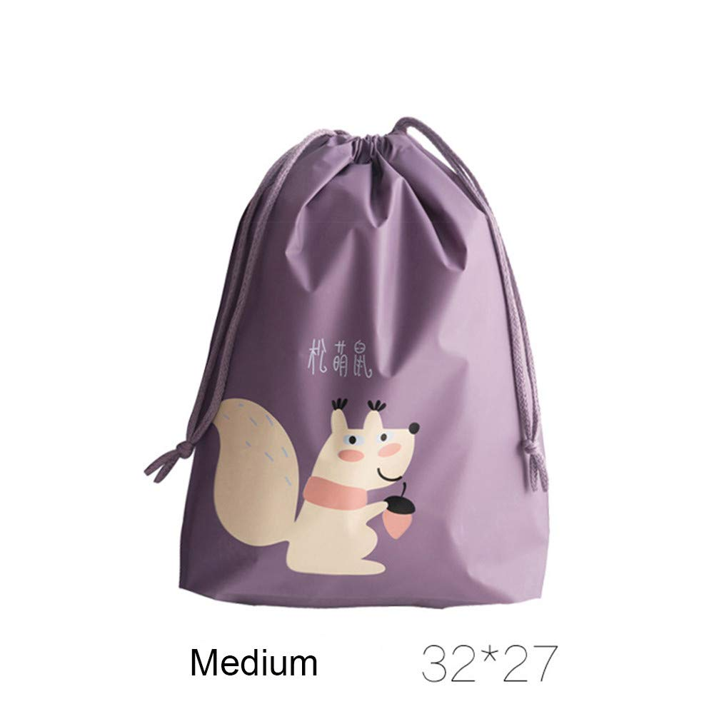 Freeby Durable Travel Storage Bag with Drawstring Creative Cartoon Squirrel Pattern Portable Waterproof Travel Laundry Bag for Clothing College Dorm Home Storage (Purple, B)