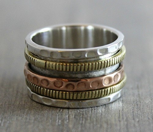 Sterling Silver Mixed Metals Brass Copper Bohemian Spinning Fidget Ring Size 9