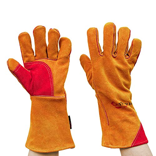 SAFE HANDLER Prime Welding Gloves with Kevlar Thread Protection | Reinforced Thumb and Palm, Heat Resistant for oven, MIG welding, TIG welder, Grill, Fireplace, BBQ, Animal Handling, 14 inch, 1 Pair