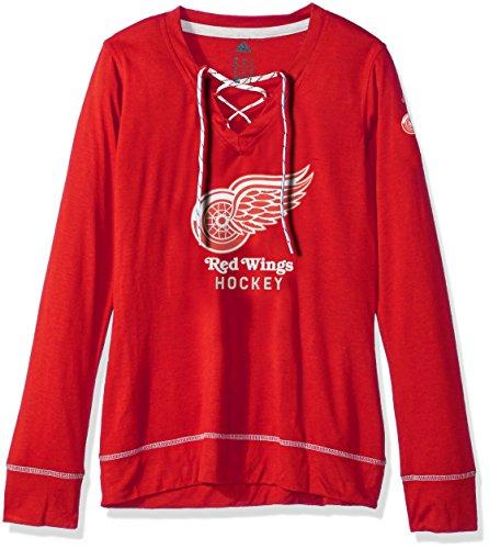 Long Hockey Skates Sleeve (adidas NHL Detroit Red Wings Womens Wordmark Hockey Stitch Skate Lace Topwordmark Hockey Stitch Skate Lace Top, Power Red, Medium)
