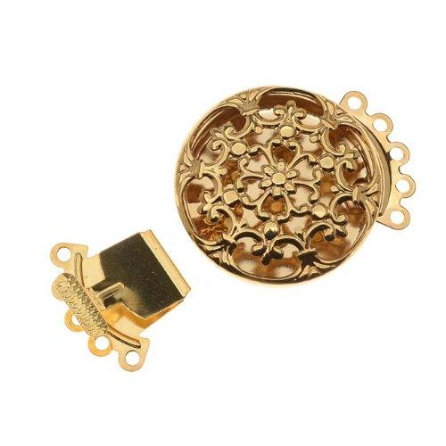 - Beadaholique Filigree Box Clasp, 5 Strand Round 22mm, 2 Clasps, Gold Tone