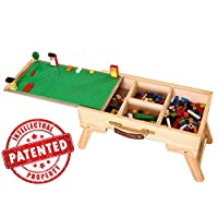 young&joy Y&J LEGO compatible storage Play Table folding custom made wooden chalkboard kids children
