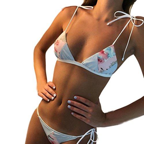 Han Shi Print Swimwear, Womens Sexy Wire Free Low Waist Tropical Skinny Swimsuit Bikini (S, Blue)