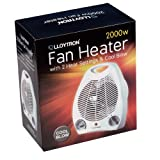 Lloytron F2001WH Staywarm 2000W Upright Fan Heater (BEAB) with Two Heat Settings and Cool Blow, White