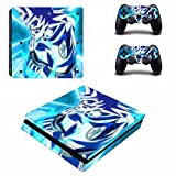 Cosines PS4 Slim Stickers Vinyl Decal Protective Console Skins Cover for Sony Playstation 4 Slim and 2 Controllers Dragon Ball Super Saiyan Goku KamehamehaHero Blue Aura Anime
