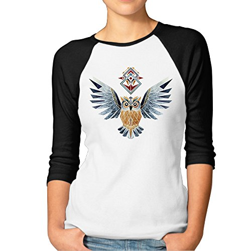 DonSir Owl Winter Women 3/4 Sleeve Raglan Tshirt Black XXL