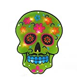 14'' Lighted Halloween Day of the Dead Green Skull Window Silhouette Decoration