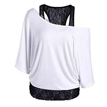 da84deef3644f ❤️ Clearance Women Plus Size Stitching Bat Sleeve Loose Top Loose Casual  Long Sleeve Tops Blouse...