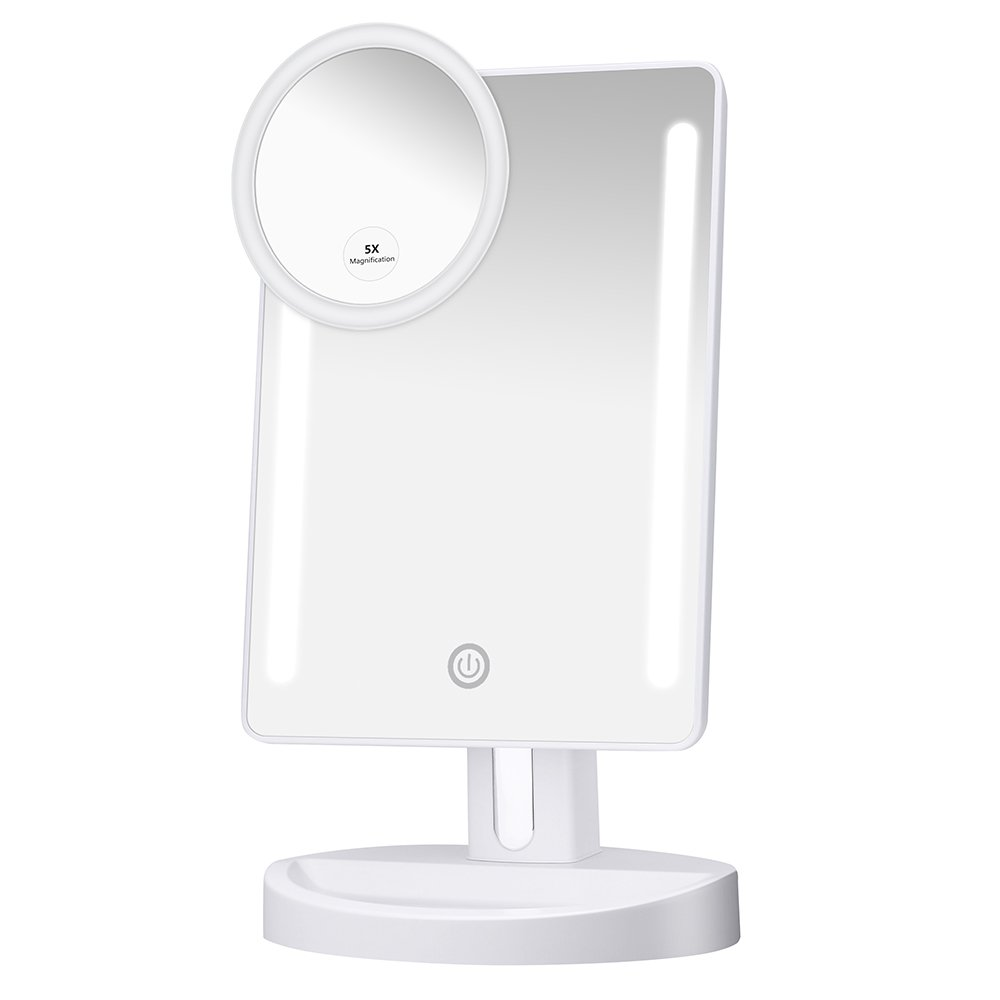KEDSUM LED Lighted Makeup Mirror,Dimmable Vanity Mirror with Lights,Tabletop Mirror with Detachable 5X Magnification Spot Mirror, 180°Adjustable Touch Screen,Batteries or USB Charging