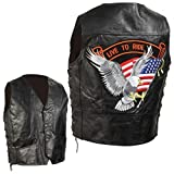 Diamond Plate Hand-sewn Pebble Grain Genuine Leather Biker Vest- 3x