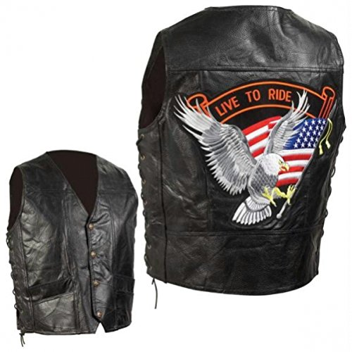 Diamond Plate Hand-sewn Pebble Grain Genuine Leather Biker Vest- M Diamond Plate Mens Vest