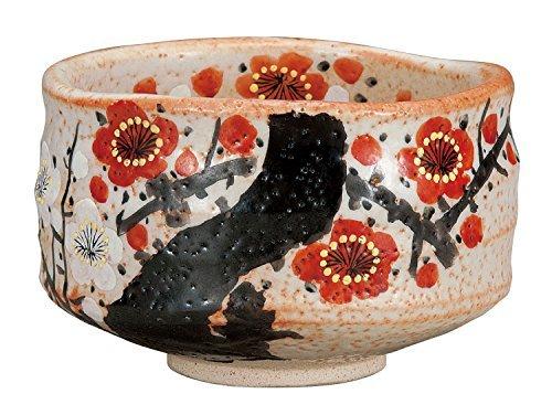 Kutani Yaki Plum Flower Pottery 4.7inch Matcha Bowl by Watou.asia